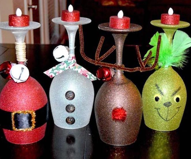 centros de mesa navideñas con copas