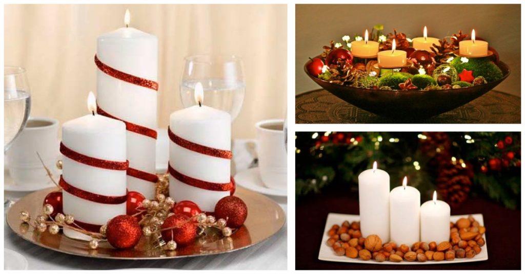 Bandejas de vela en la mesa de Navidad