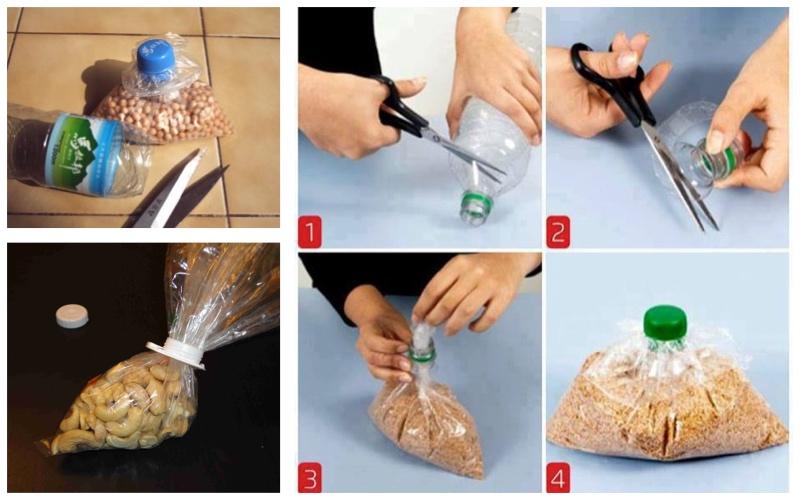Bolsas con tapas enroscables: reutilizar envases de plástico