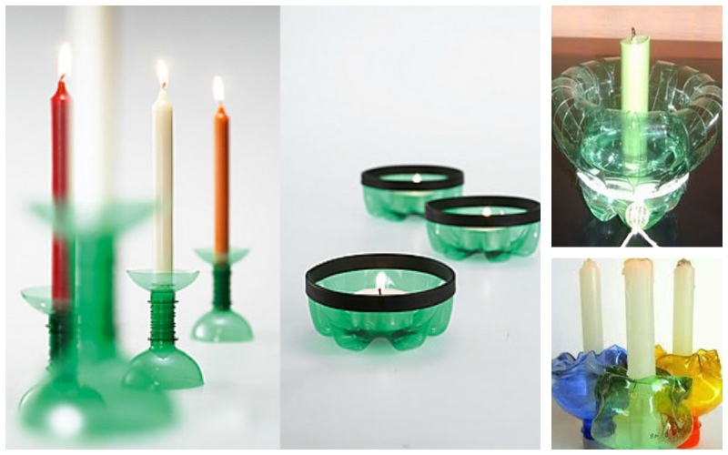Candelabros para reutilizar envases de plástico