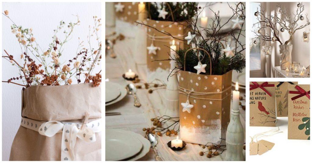Centros de mesa para Navidad con bolsas de papel