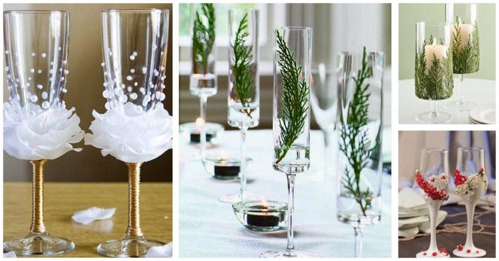 Centros de mesa para Navidad con copas de champán