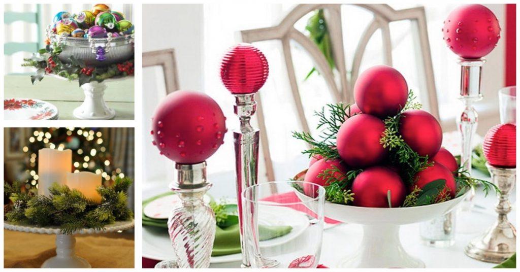 Centros de mesa para Navidad en soporte para tartas