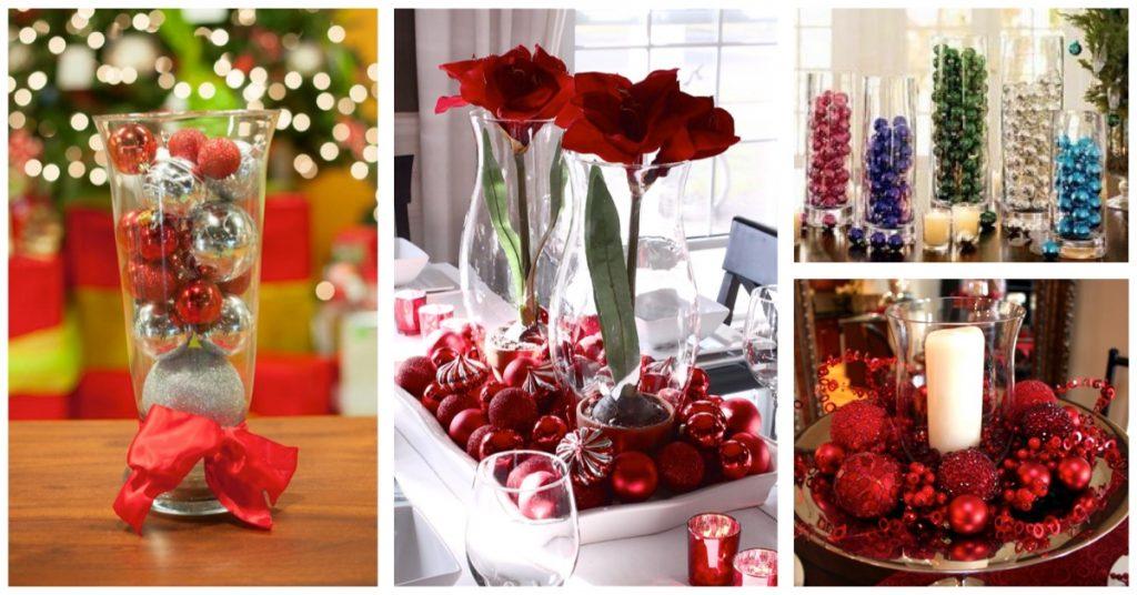 Centros navideños: Floreros con bolas
