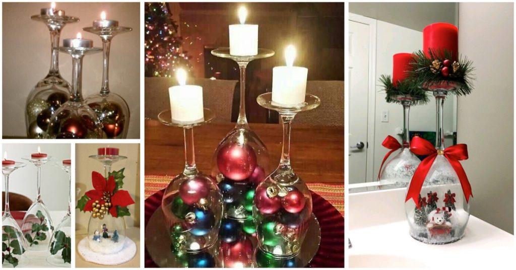 Centros navideños con copas de vino tinto