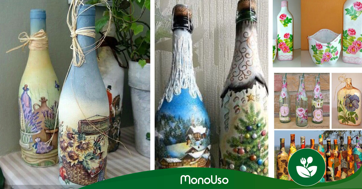 Cómo decorar botellas con servilletas