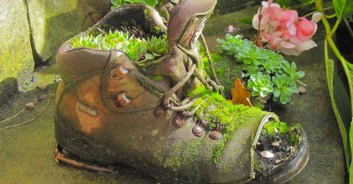 Macetas con zapatos