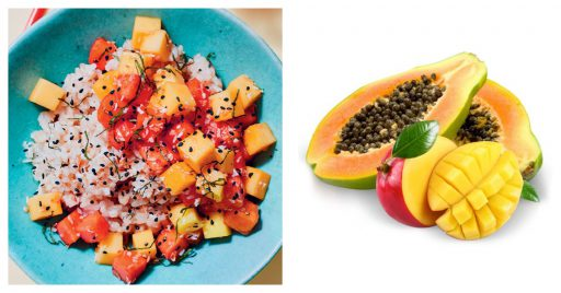 Mango y papaya con arroz de coco