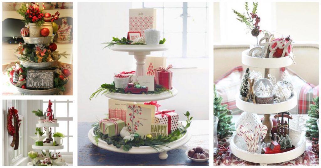 Soportes para cupcakes como centros de mesa navideño