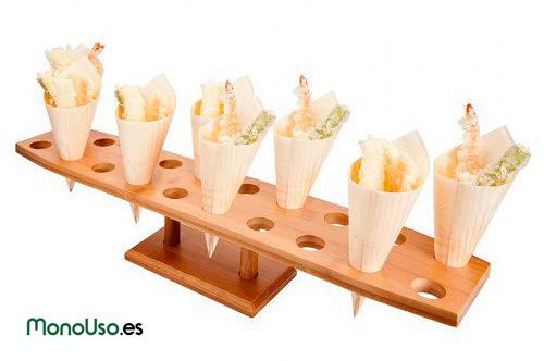 Conos de bambú y soportes para conos