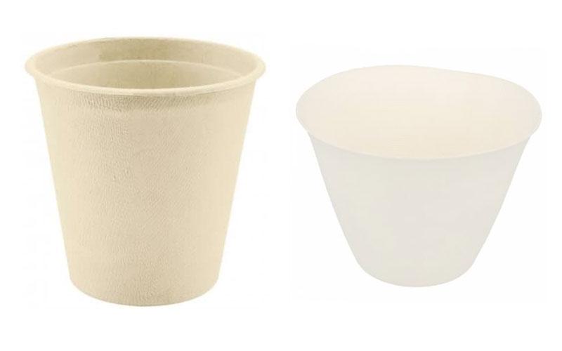 vasos realizados con desechos de caña de azúcar